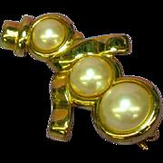 Monet Elegant Pearl Goldtone Snowman Pin Brooch