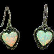 Sterling Silver Opal Inlay Heart Shaped Dangle Pierced Earrings