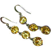 Crystal Faceted Citrine Dangle Drop Pierced Earrings