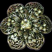 Rhinestones Bright Flower Silver Tone Pin Brooch