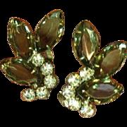 Juliana D&E Large Smoke Rhinestones Clip Earrings