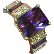 Sterling Silver Rhodium Plate Diamonique Amethyst Swarovski Crystal Filigree Ring