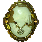 SALE Cameo en Habille  Marked 10K Diamond Necklace Ring