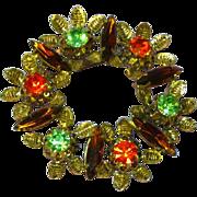 Austrian Rhinestones Goldtone Wreath Circle Pin Brooch