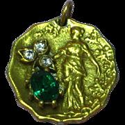 Art Nouveau Double Sided Delightful Woman Jeweled Necklace Pendant Charm