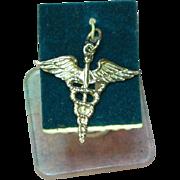 Medical Caduceus Sterling Silver Bracelet Charm Pendant
