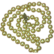 "Pearls Glass Hand Knotted Strand 22"" Necklace"