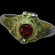 Gemstones Garnet Sterling Silver 925 Poison Compartment Ring