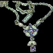 Napier Elegant Signed Purple Rhinestone  Silvertone Necklace