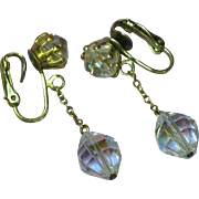 Classy AB Faceted Crystal Drop Clip Earrings