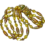 Golden Carnival Glass Faux Pearl Rhinestones Three Strand Necklace