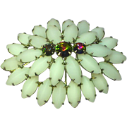 Watermelon Rivoli Rhinestone White Satin Glass Domed Brooch Pin