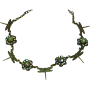 Vitrail Rhinestones and Brass Dragonflies Necklace