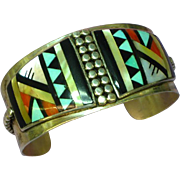 SALE Native American Indian Zuni Inlaid Sterling Silver Cuff Bracelet