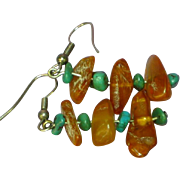 Amber and Turquoise Drop Dangle Pierced Earrings