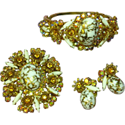 Juliana D&E Incredibly Dimensional Milk Glass Gold Speckled Veining,  AB Rhinestones Filigree