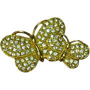 Napier Gorgeous Gold-plated  Rhinestones Butterfly Pin Brooch
