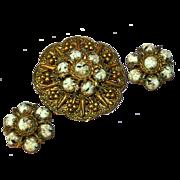 Copper & Art Glass Huge Pin Brooch Clip Earrings Set Demi Parure