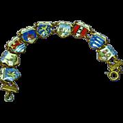 Enamel European Country Shields Travel Charm Bracelet
