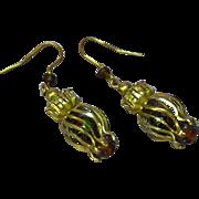 Cloisonne  Caged Bead  Dangle Drop Gold Tone Filigree Pierced Earrings