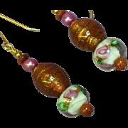 Murano Glass Bead Dangle Drop Pierced Earrings