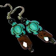 Gemstones Mahogany Jasper Onyx Turquoise Dangle Drop Sterling Silver Pierced Earrings