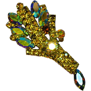 Juliana DeLizza and Elster Topaz A/B Rhinestones Large Leaf Bouquet Brooch Pin