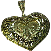 Filigree Sterling Silver 925 Puffed Heart  Doves Pendant