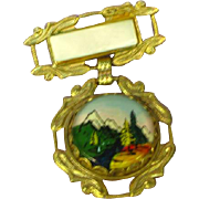 Intaglio Reverse Painted Essex Crystal Scenic Pin Brooch