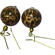 Animal Print Long Dangle Bead Pierced Earrings