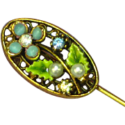 Art Enamel Flowers Art Glass Rhinestones Stick Pin Brooch