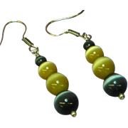 Art Glass Vintage Cats Eye Drop Dangle Pierced Earrings