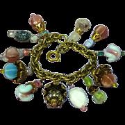 SALE Napier Gold tone Large Art Glass Rhinestones Dangle Charm Bracelet