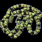SALE Gemstones Dalmation Jasper & Onyx Bead Necklace and Pierced Earrings