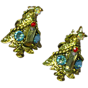 Hollycraft Sparkly Rhinestone Decorated Christmas Tree Clip Earrings