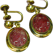 Old European Carved and Pierced Rubellite Tourmaline 1/20-18K Gold Filled Estate Jewelry Screw