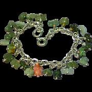 Jade Carved Animals Sterling Silver Carved Coral Charm Bracelet