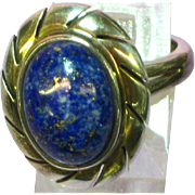 Lapis Genuine Stone Bold Large Estate Sterling Silver Size 9 Ring