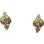 Crystal Pink and Clear CZ Crystal Diamond Pierced Earrings