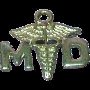 Medical MD Doctor Caduceus Sterling Silver Bracelet Charm Pendant