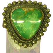 Native American Indian Bells Trading Post Green Nevada Turquoise Ring