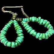 Turquoise Chunks Bead Sterling Silver Dangle Drop Pierced Hoop Earrings