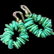Turquoise Chips Hoop Sterling Silver Dangle Drop Pierced Earrings