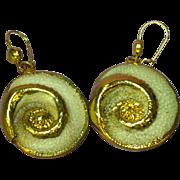 14K Gold Dipped  Sea Shell Charm Pierced Earrings