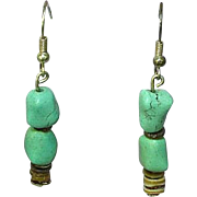Chinese Turquoise Nugget Knuckle Bone Bead Heshi Pierced Earrings