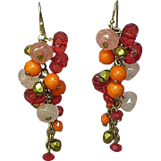 Art Glass Bead Fringed Dangle Pierced Earrings