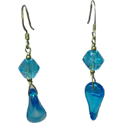 Art Glass Givre Glass Bead  Sterling Silver Drop Dangle Pierced Earrings