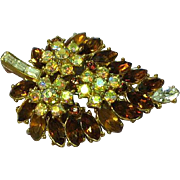 SALE Crown Trifari Golden Topaz Rhinestone Pin Brooch