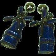 Enamel Cobalt Blue Sterling Silver Moving Wind Mill Pierced Earrings