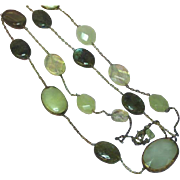 SALE Vintage Natural Yellow Jadeite Jade Labradorite Lemon Quartz Long Necklace